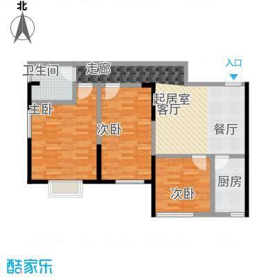 益华御才湾89.00㎡E2三室两厅两卫户型3室2厅2卫