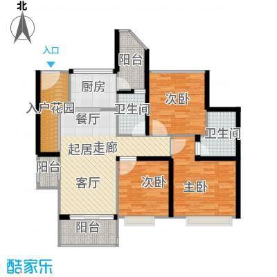 泓基悦苑92.00㎡7、8、9、10栋单位户型图户型3室2厅2卫