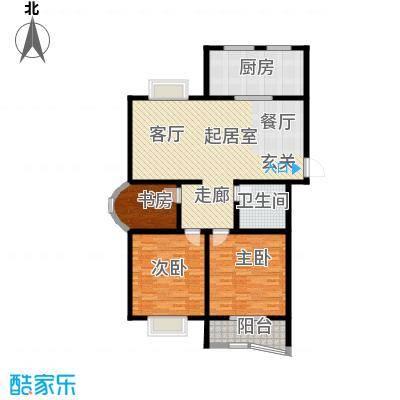 潍坊东方明珠124.93㎡D户型 三室两厅一卫户型3室2厅1卫