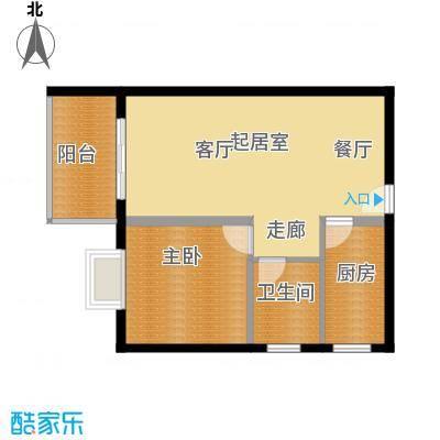 龙沐湾1号海景公馆61.00㎡E户型60/61平方米户型1室2厅1卫