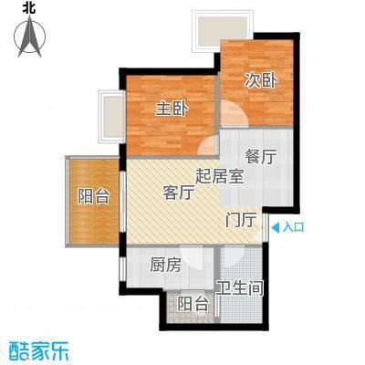 龙沐湾1号海景公馆79.00㎡F户型2室2厅1卫