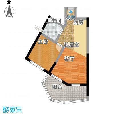 美好・龙沐湾D4 63.26平米户型1室2厅1卫