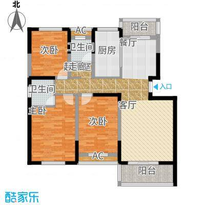 天邦紫金苑128.47㎡01/02栋B户型3室2厅2卫