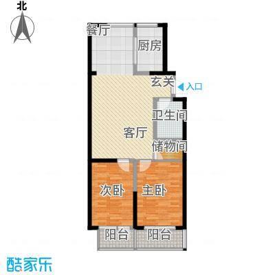 嵛景华城86.66㎡31和32号楼C户型2室2厅1卫