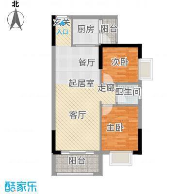 香海湾76.16㎡2栋04户型2室2厅1卫户型2室2厅1卫