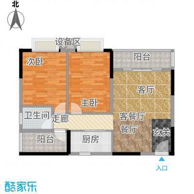 橡墅88.71㎡3栋1单元偶数层03.05户型三房二厅一卫户型3室2厅1卫