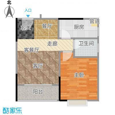 橡墅57.05㎡2栋2单元偶数层02-04户型1室2厅1卫1厨户型1室2厅1卫