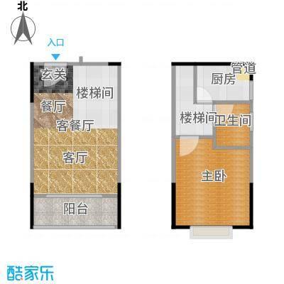 橡墅2栋2单元复式02-04户型2室2厅2卫1厨 81.10户型2室2厅2卫