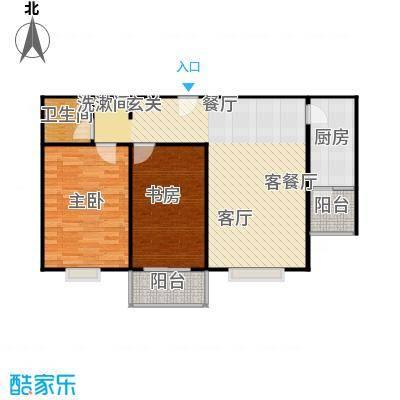 左岸春天86.00㎡两室一厅一卫86平方米E户型2室1厅1卫