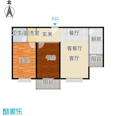 左岸春天户型2室1厅1卫1厨