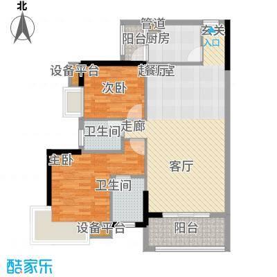 龙富花园94.00㎡B户型2房2厅2卫户型2室2厅2卫