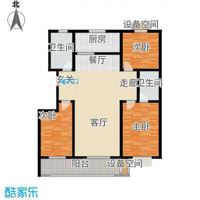 虞河小镇137.75㎡17#、18#号楼户型3室2厅2卫
