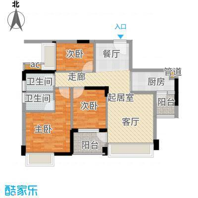 大翼龙苑89.21㎡8/9/10栋02单元户型3室2厅2卫