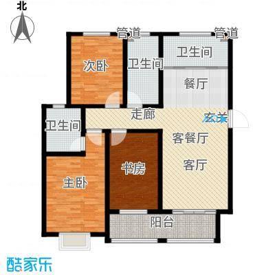 逸景和公馆125.33㎡C1 三室两厅两卫户型3室2厅2卫