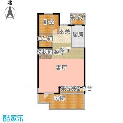 华茂中心97.00㎡洋房一层Q1户型1室2厅1卫