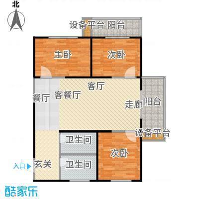 东岸阳光119平米三室两厅一厨一卫户型