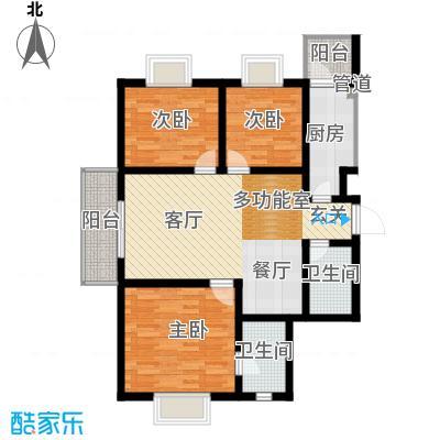 富水一方121.42㎡三室二厅二卫户型