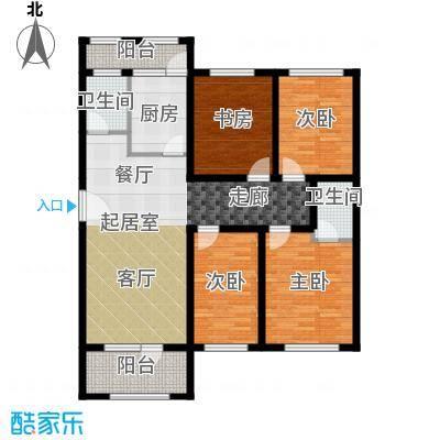 美地庄园126.00㎡四室两厅两卫户型4室2厅2卫