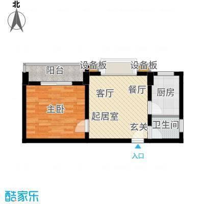 张家围17号花园一房一厅 一卫55.36平米户型