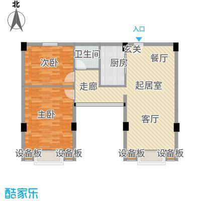 张家围17号花园两房两厅一卫105.9平米户型