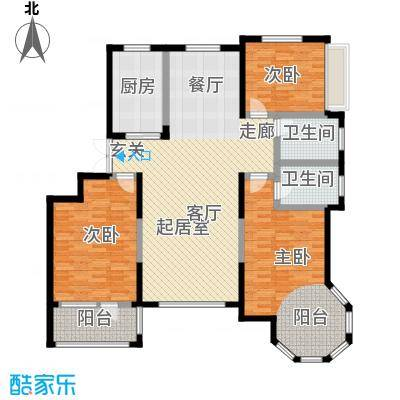 滨海・舜景苑户型3室2卫1厨