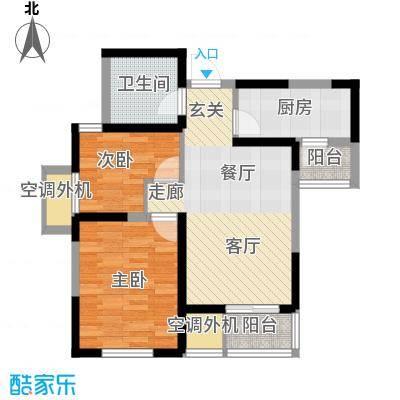 天房郦堂78.00㎡D户型限价房 两室两厅户型