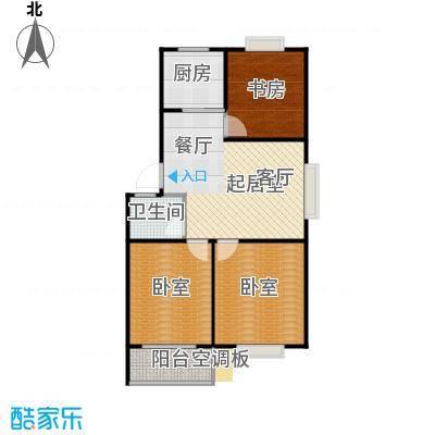 滨海花园88.63㎡F 户型 三室两厅一卫户型3室2厅1卫