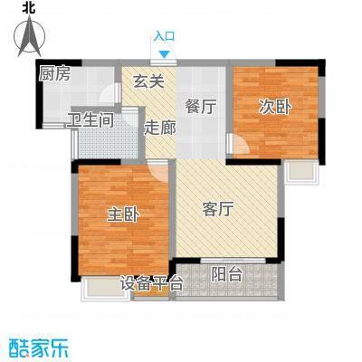 三和悦城两房两厅一卫面积为86.63平方户型