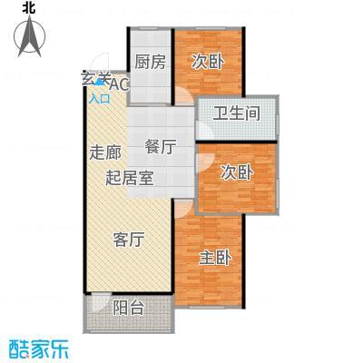 中海康城105.00㎡小高层GC户型 三室两厅一卫户型3室2厅1卫