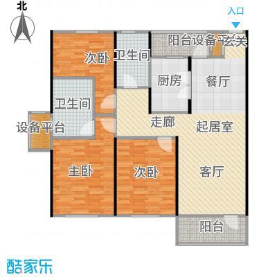 中海康城114.00㎡小高层GD户型 三室两厅两卫户型3室2厅2卫