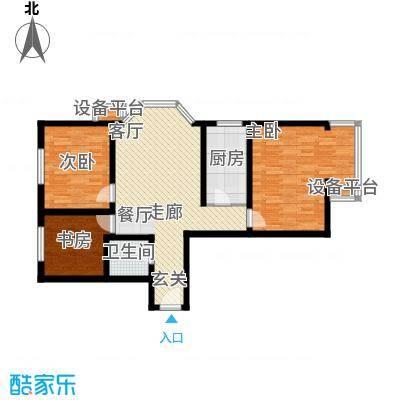银海水韵(二期华泰御景)105.28㎡三室一厅一卫户型