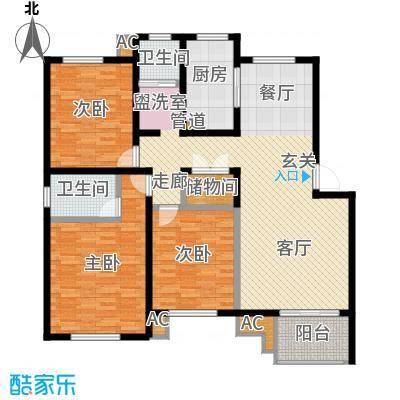 海正香醍湾130.02㎡C1 三室两厅两卫户型3室2厅2卫