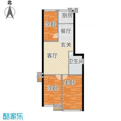 栖里凤台山庄80.00㎡D户型3室2厅1卫1厨80㎡户型