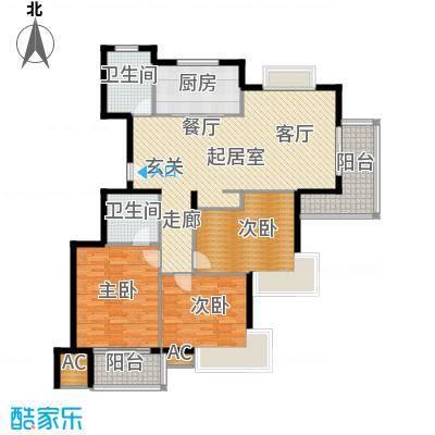清江华府QQ户型3室2卫1厨
