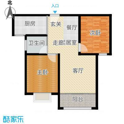 新城湖光山舍98.21㎡12#K户型两室两厅一卫户型2室2厅1卫