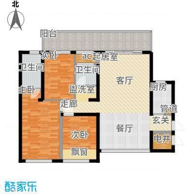 万盛凤凰城凤凰城2#01、05单元(2+1)房2厅(1+1)卫,约87.75㎡户型3室2厅2卫