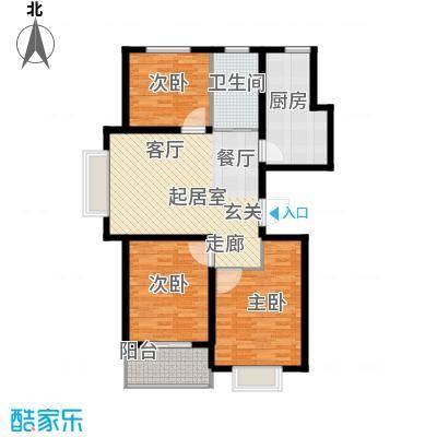 新城湖光山舍109.05㎡12/14# H户型 三室两厅一卫户型3室2厅1卫
