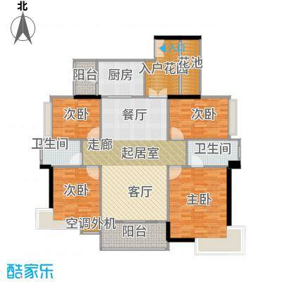 富湾国际146.00㎡3栋03单位户型图户型4室2厅2卫