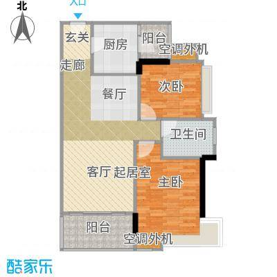 富湾国际83.00㎡1栋03单位户型图户型2室2厅1卫