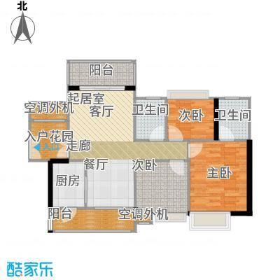 富湾国际98.00㎡1、2栋02单位户型图户型3室2厅2卫