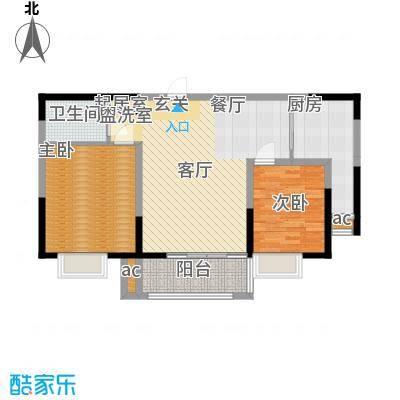 北大锦城90.78㎡10/14/ 17/18号楼 两室两厅一卫户型2室2厅1卫