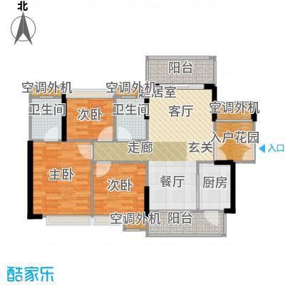 富湾国际98.00㎡1、2、3栋01单位户型图户型3室2厅2卫