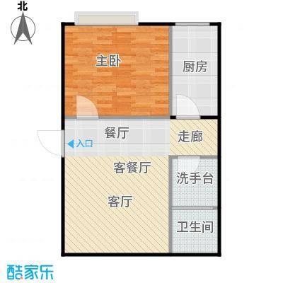 潍坊世贸中心G户型 一室一厅一卫户型1室1厅1卫