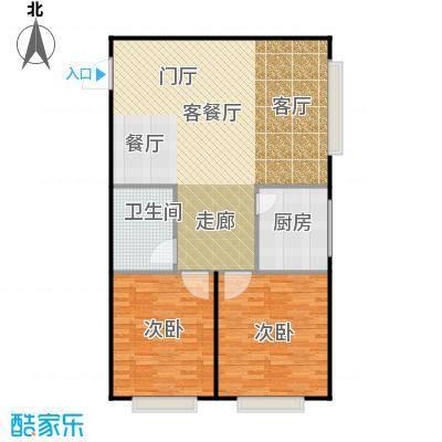 潍坊世贸中心104.05㎡C户型 两室两厅一卫户型2室2厅1卫
