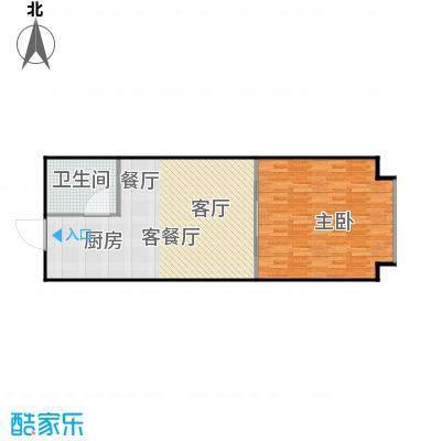 潍坊世贸中心56.67㎡H户型 一室一厅一卫户型1室1厅1卫