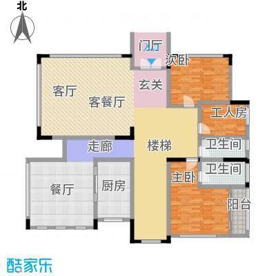黄金海岸C1户型首层平面图户型3室2厅2卫