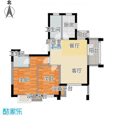 阳光新业国际91.00㎡D2二室二厅二卫户型