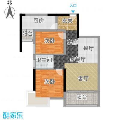 南昌万达城80.00㎡A区住宅A1户型2室2厅1卫