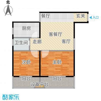 东岸阳光90平米两室两厅一厨一卫户型