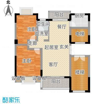 张家围17号花园两房两厅一卫102.41平米户型